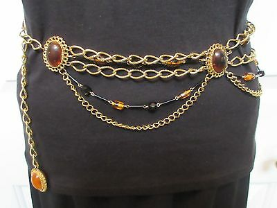 "Gilt metal chain  swag drape belt Gold tone & faux amber beads 28""-34"""