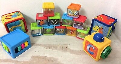 Lot of 15 Fisher Price  Peek A Boo  See Through Activity Blocks 2 Soft Blocks