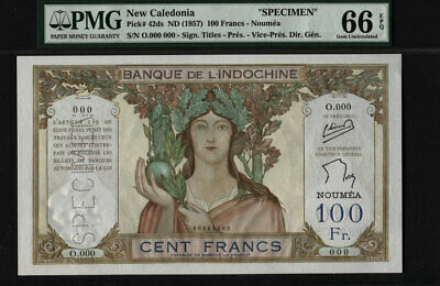 "TT PK 42ds 1957 NEW CALEDONIA 100 FRANCS ""SPECIMEN"" PCGS 66 PPQ GEM NEW POP ONE"