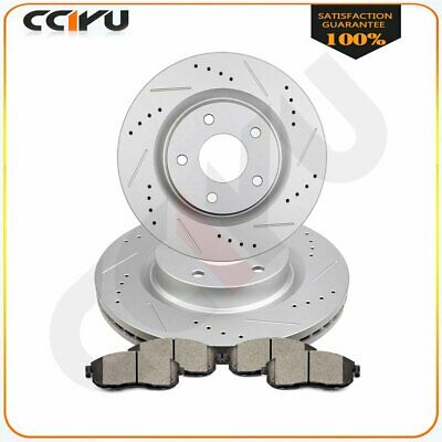 Front Brake Discs Rotors And Ceramic Pads For Altima 2007 - 2012 Drilled Slotted