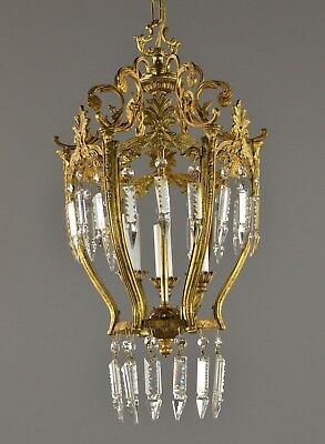 Brass & Crystal Lantern Chandelier c1950 Vintage Antique Ceiling Light