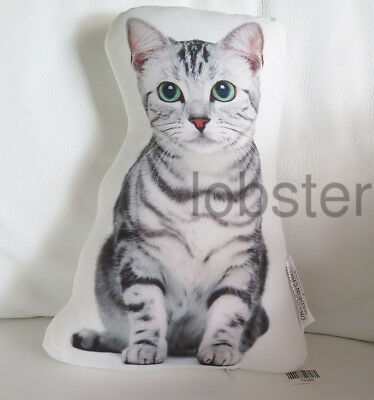 CAT PILLOW White Gray Green Eyes Photograph on fabric 14 inch zipper cover