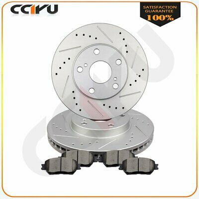 Front Brake Rotors + Ceramic Pads For 2002-2006 Toyota Camry Drilled Vented