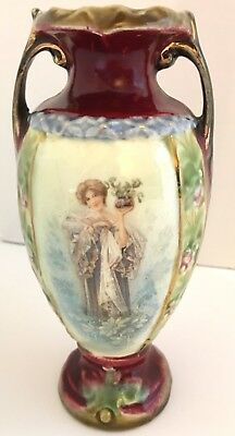 Majolica Vase, Hand Painted, 19th Century, Image of a Woman