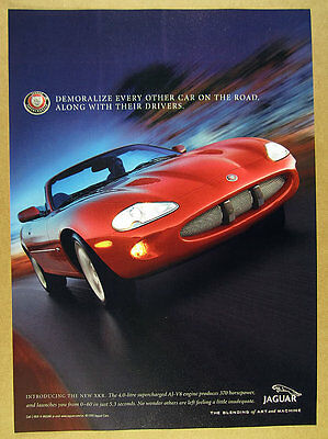1999 Jaguar XKR Convertible red car color photo vintage print Ad