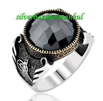 Turkish Handmade 925 Sterling Silver SPECIAL Onyx Mens Ring Sz 12 us Free Resize