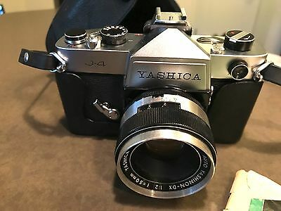 RARE vintage Yashica J-4 SLR film camera with 50mm f/2 lens, case and manual