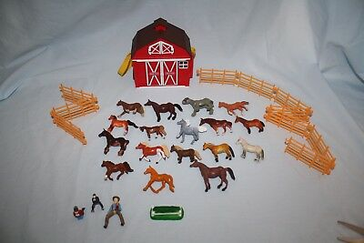 Breyer Barn + 17 Safari Empire Etc. Horses 10 Fence Pieces 3 People & Jump