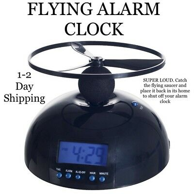 Crazy Flying Alarm Clock Digital LCD Helicopter Propeller Battery Operated Fly