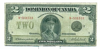 1923 The Domonion of Canada $2 Note V-531533 F Pressed DC26K