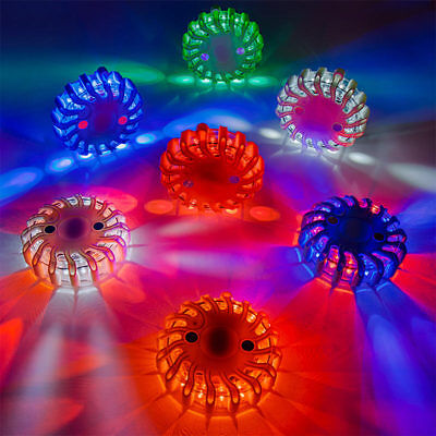 6 pc Rechargeable Safety LED Road Flares Multi Colors 9 different flash patterns