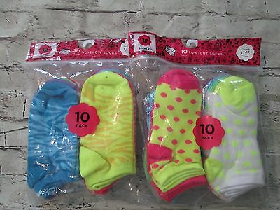 Total Girl 20 Pair of NEW Assorted Socks Small 7-10