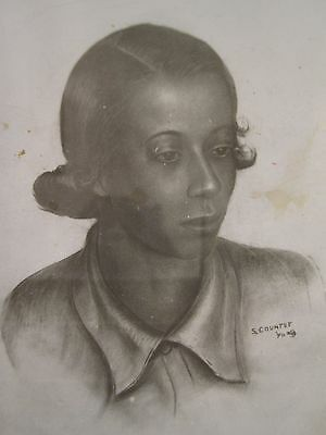 Antique Vintage 1940 African American Photo Of Fine Painting By Samuel Countee