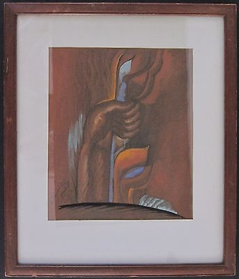 Antique 1920 Early Chicago Modernist Painting Hungarian Jewish African American