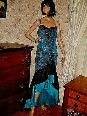 LOVELY VINTAGE1980s NADINE AQUA/BLACK SEQUIN BEADED RUFFLED MERMAID TAFFETA GOWN