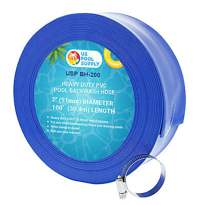 "2"" x 100' Heavy Duty Blue PVC Swimming Pool Backwash Hose with Clamp, Discharge"