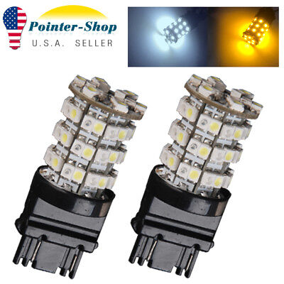 2x 3157 Dual Color White/Amber 60-SMD LED Light Bulbs Tail Brake Stop 3156 4157