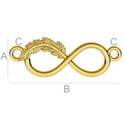Sterling silver 925 24k gold plated Infinity sign feather charms connector