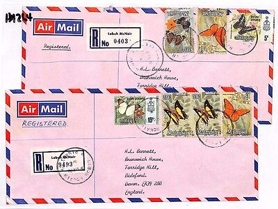 HH264 1978 MALAYSIA *Lebuh McNair* Registered Air PAIR COVERS {2} BUTTERFLIES