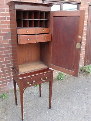 George III antique solid mahogany estate library filing cabinet cupboard & key