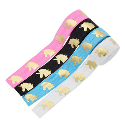 1 Yard Gold Foil Fold Over Unicorn Printed Elastic Ribbon Choice of Colours
