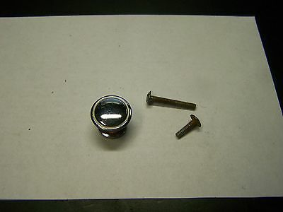 NOS Vintage HIBBARD 1940's Chrome Knob White Line-Ring Drawer-Door-Cabinet Pull