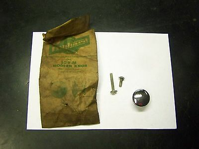 NOS Vintage HIBBARD 1940's Chrome Knob Drawer-Door-Cabinet Pull 129-M