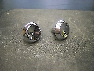 2 Vintage Concave Chrome Drawer Door Knob Pull Art Deco-Solid-Heavy  T6