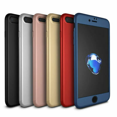 360 Hybrid Shockproof Case Cover Tempered Glass for Apple iPhone 6 6s 7 Plus