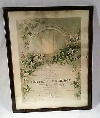 "Antique Ornate 1914 Framed 16""x 20"" Marriage Certificate West Virginia"