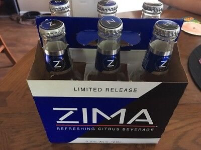 Zima Bottles Limited Release 2017 Empty with Box, Bottles, and Caps.