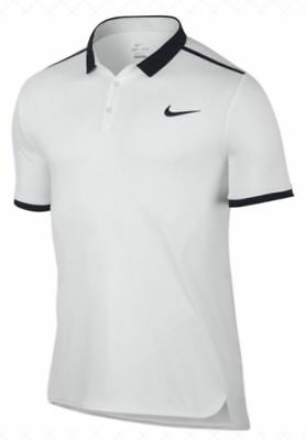 Nike Mens Dri-Fit Court Advantage Tennis Polo Shirt White/Black 728947-100 ***