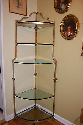 Vintage Hollywood Regency Corner Etagere Display Silver Gilt Metal Glass