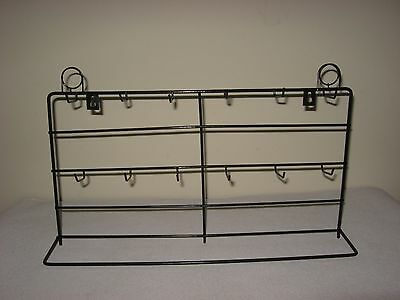 New Black Wire Counter Top Display Rack 12 Pegs With Sign Holder 18.5W X 10H