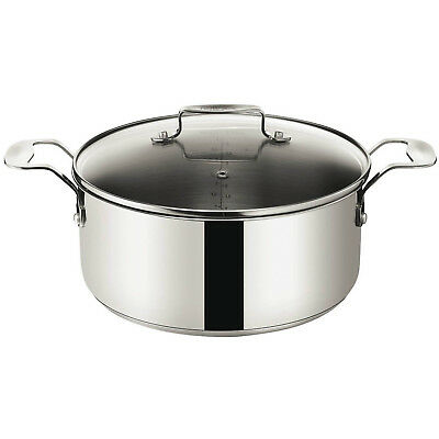 Tefal Jamie Oliver Stainless Steel 24cm Stewpot With Lid Non Stick Stockpot Pot