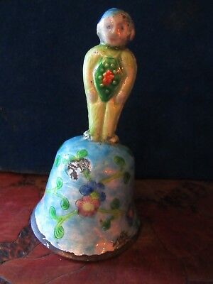 Antique Brass Cloisonne Bell from China Early 1900s. CUTE LITTLE PIXIE.