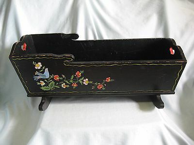 "25"" Antique Hand Painted Wood Wooden Rocking Cradle Doll Baby Bed"