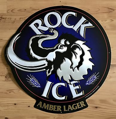 Rolling Rock Rock Ice Amber Lager Beer Tin Sign Ancient Mammoth New. 1994 RARE.