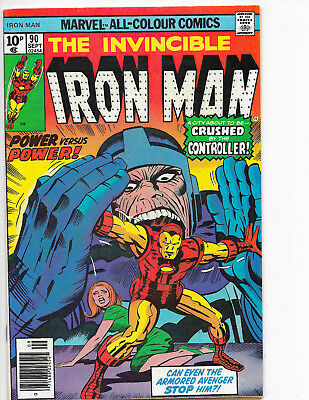 Invincible Iron Man #90 Marvel Comics 1976 UK Price Variant VF+