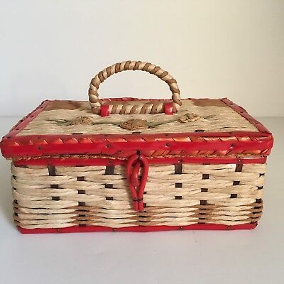 Vintage Small Red Wicker Sewing Basket