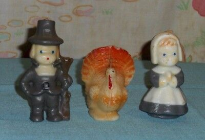 vintage Gurley and other THANKSGIVING CANDLE LOT x3 pilgrim puritan white turkey