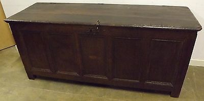 SUPERB ANTIQUE C18th LARGE FIVE-PANEL SOLID OAK COFFER NICE COUNTRY PIECE