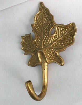 "Vintage Large Decorative Wall Mounted Maple Leaf Hook Antique Brass 4 1/2"" X 3"""