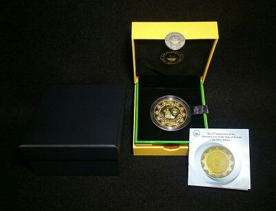 Kuwait 5 Dinars 25th Anniversary Of The Liberation Day Gold Plated .999 Silver