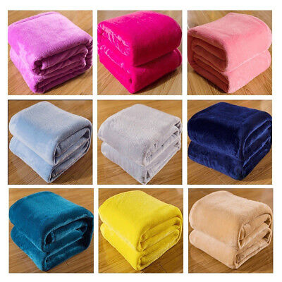 Soft Gorgeous Flannel Fleece Blanket Cozy Couch Sofa Bed Blanket Solid Color