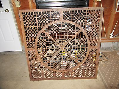 "ANTIQUE CAST IRON FLOOR GRATE VENT REGISTER LARGE 42"" SQUARE w/ 30"" ROUND GRATE"