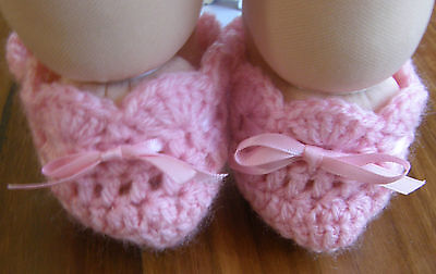 "Dolls Clothes 4 Cabbage Patch Kid 16"" doll Lt Pink booties/shoes with ribbon tie"