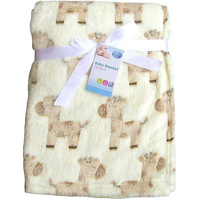 Super Soft & Fluffy Large Patterned Baby Blanket (Cream Ponies)