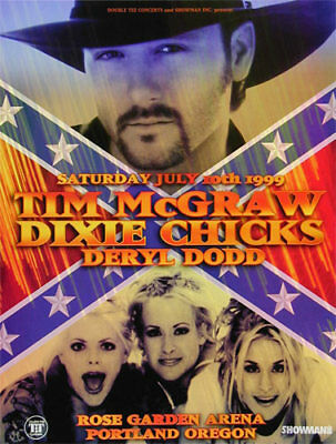 Tim McGraw w/Dixie Chicks - July 1999 Concert Poster - Rose Garden OR - Country