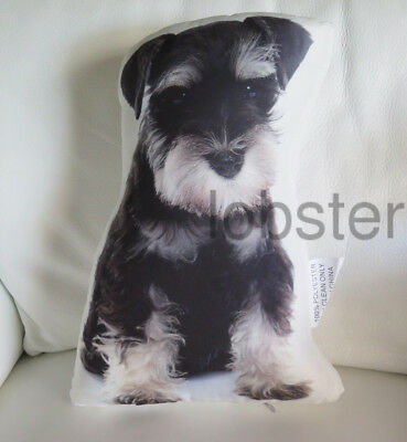 ADORABLE SCHNAUZER DOG PILLOW Photograph on fabric 15 inch with zipper cover